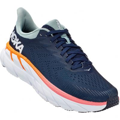 Seitenansicht vorn vom Hoka one one Clifton 7 Damen in navy/orange/weiß