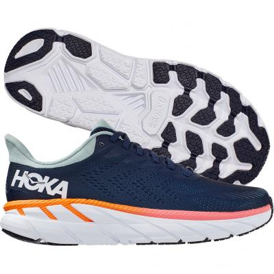 Hoka One One - Clifton 7, Damen - navy/orange/weiß