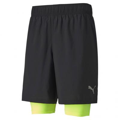 Ansicht von vorn von der Puma Last Lap 2in1 7 Short Herren in black/yellow-alert