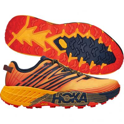 Hoka One One - Speedgoat 4, Herren - orange/blau/rot