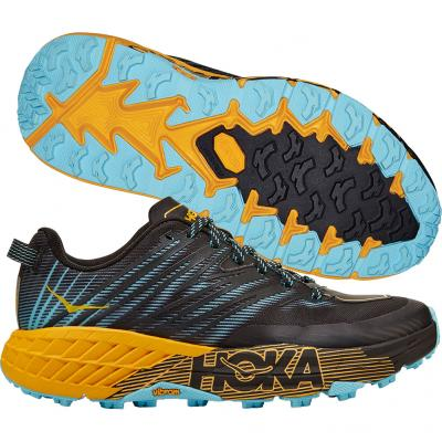 Hoka One One - Speedgoat 4, Damen - schwarz/blau/orange