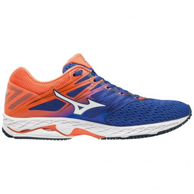 Seitenansicht innen vom Mizuno Wave Shadow 2 Herren in orange/blau