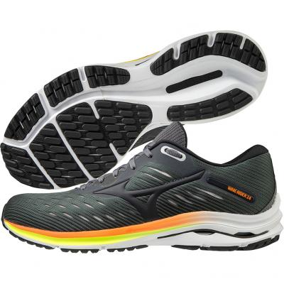 Mizuno - Wave Rider 24, Herren - grau/orange/gelb