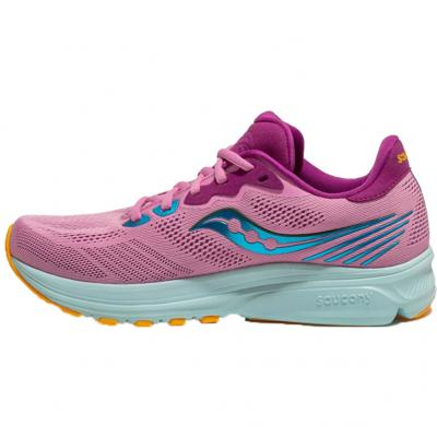 Seitenansicht innen vom Saucony Ride 14, Damen in pink-türkis-orange