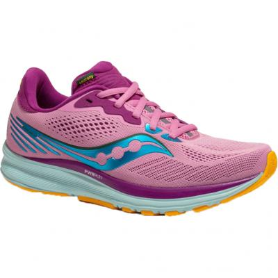Vorderansicht vom Saucony Ride 14, Damen in pink-türkis-orange