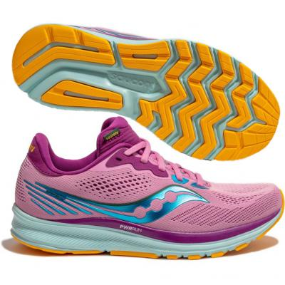 Saucony - Ride 14, Damen - pink/türkis/orange