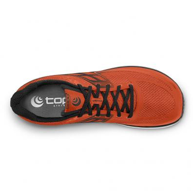 Ansicht von oben vom TOPO athletic Ultrafly 2 Herren in orange/blau